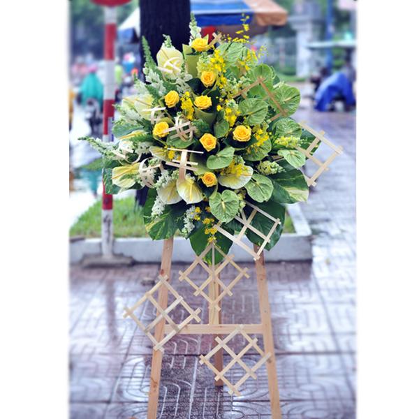 Hoa khai trương màu xanh phát đạt mang màu chủ đạo là sắc xanh của sự sinh trưởng và sắc vàng của thịnh vượng lời chúc đầy ý nghĩa